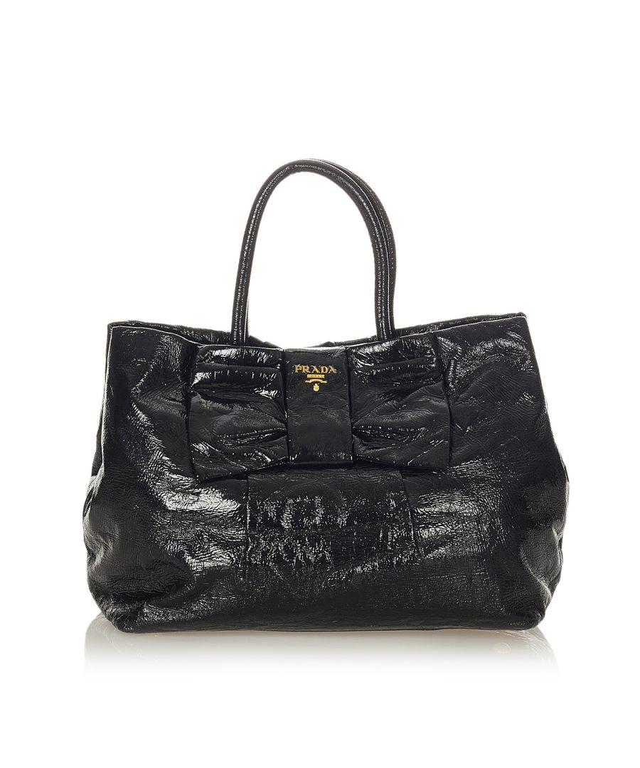Image for Vintage Prada Bow Patent Leather Handbag Black