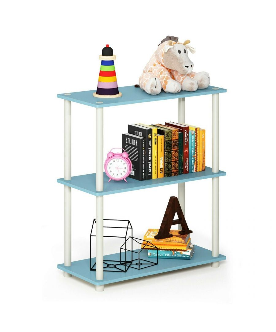 Image for Furinno Turn-N-Tube 3-Tier Compact Multipurpose Shelf Display Rack - Light Blue with White Tubes
