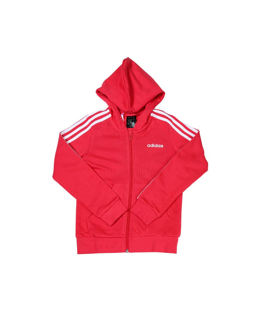 Image for Girl's adidas Junior Essentials 3-Stripes Zip Hoody Pink white 14-15in Pink white
