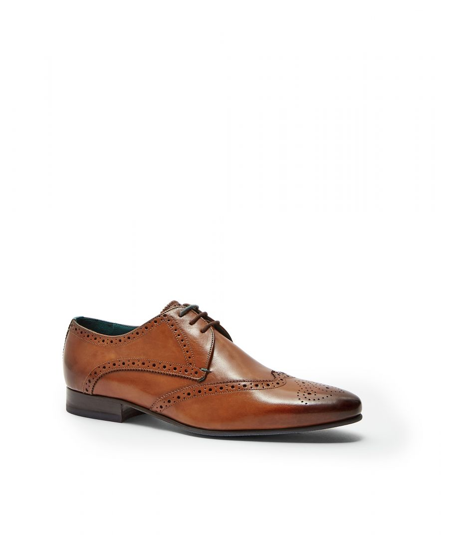 Image for Ted Baker Hosei Leather Wing Cap Brogues, Tan