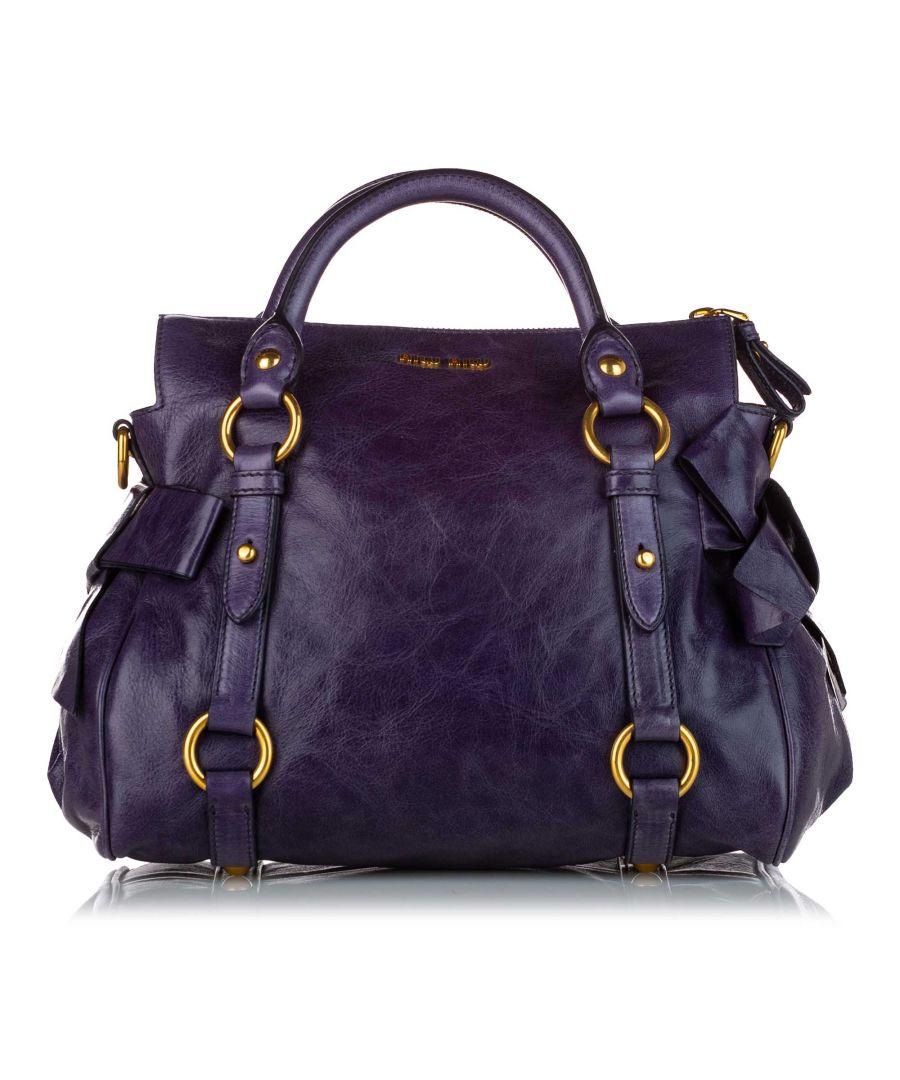 Image for Vintage Miu Miu Vitello Lux Bow Satchel Purple