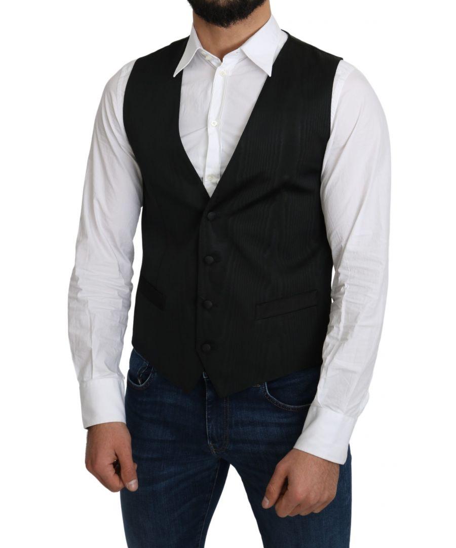 Image for Dolce & Gabbana Gray 100% Silk Formal Coat Vest