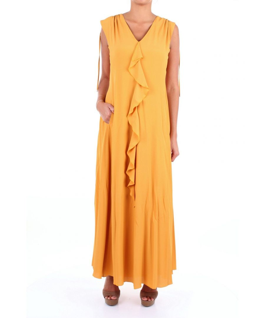 Image for LES COPAINS WOMEN'S 0L5340MUSTARDYELLOW YELLOW ACETATE DRESS