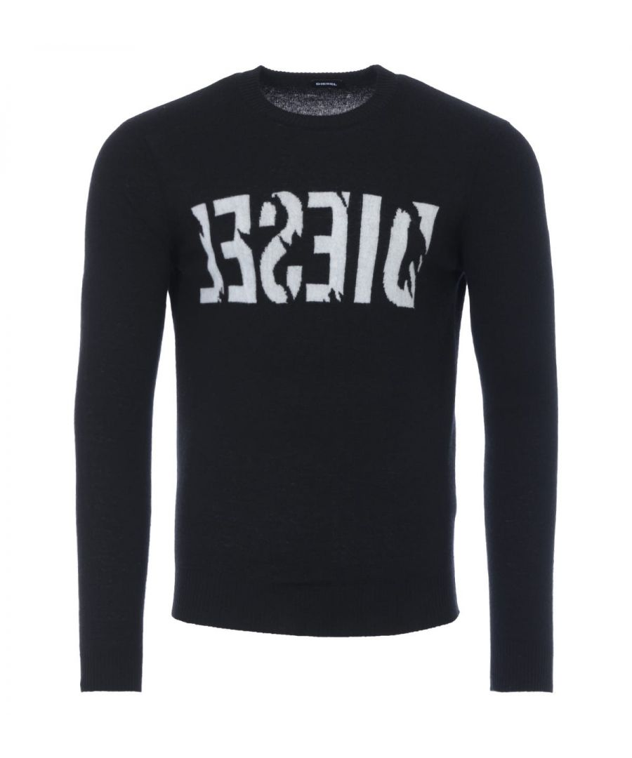 Image for Diesel K-Joy Logo Wool Cashmere Crew Neck Sweater - Black