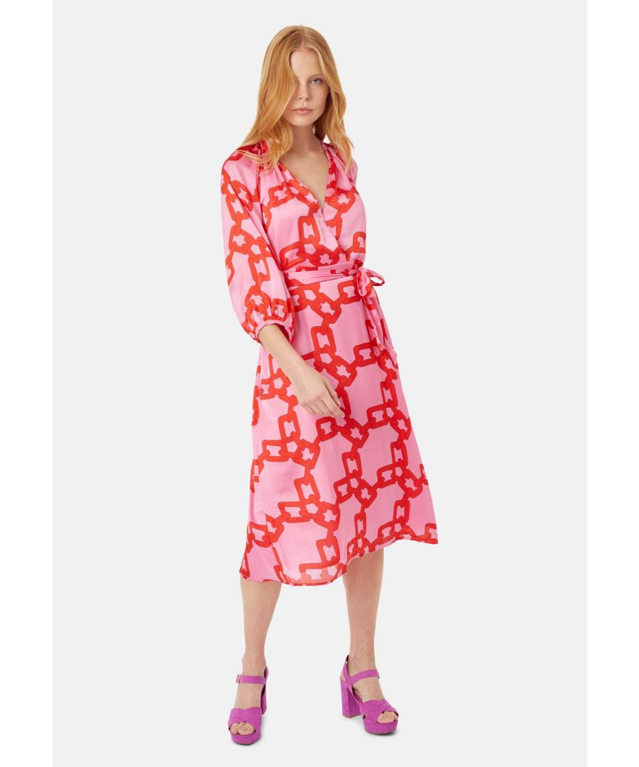 Image for Belt Up Faux Wrap Long Sleeve Dress in Red and Pink Chain Print