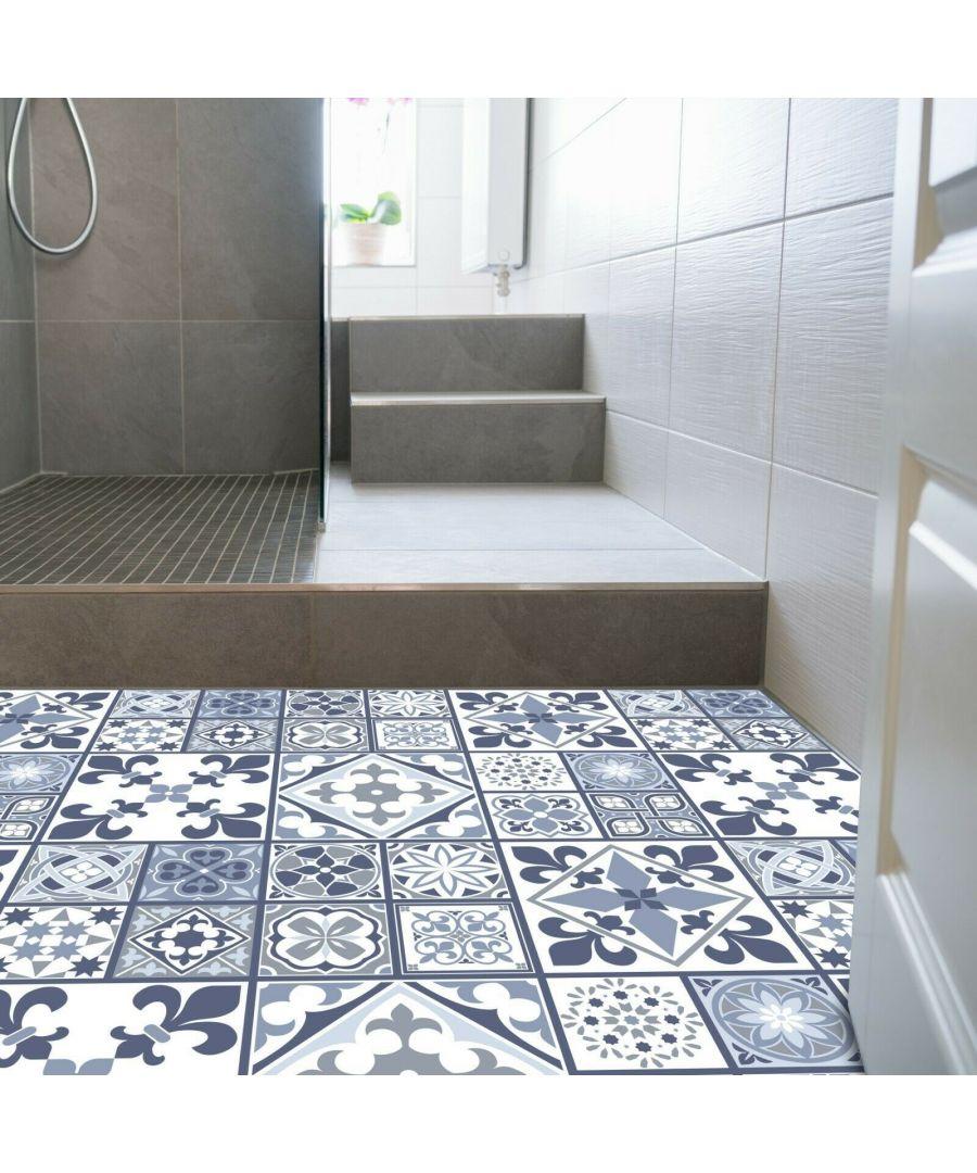 Image for WFS6012 - Lisbon Blue Tiles Melange Floor Sticker 120cm x 60 cm