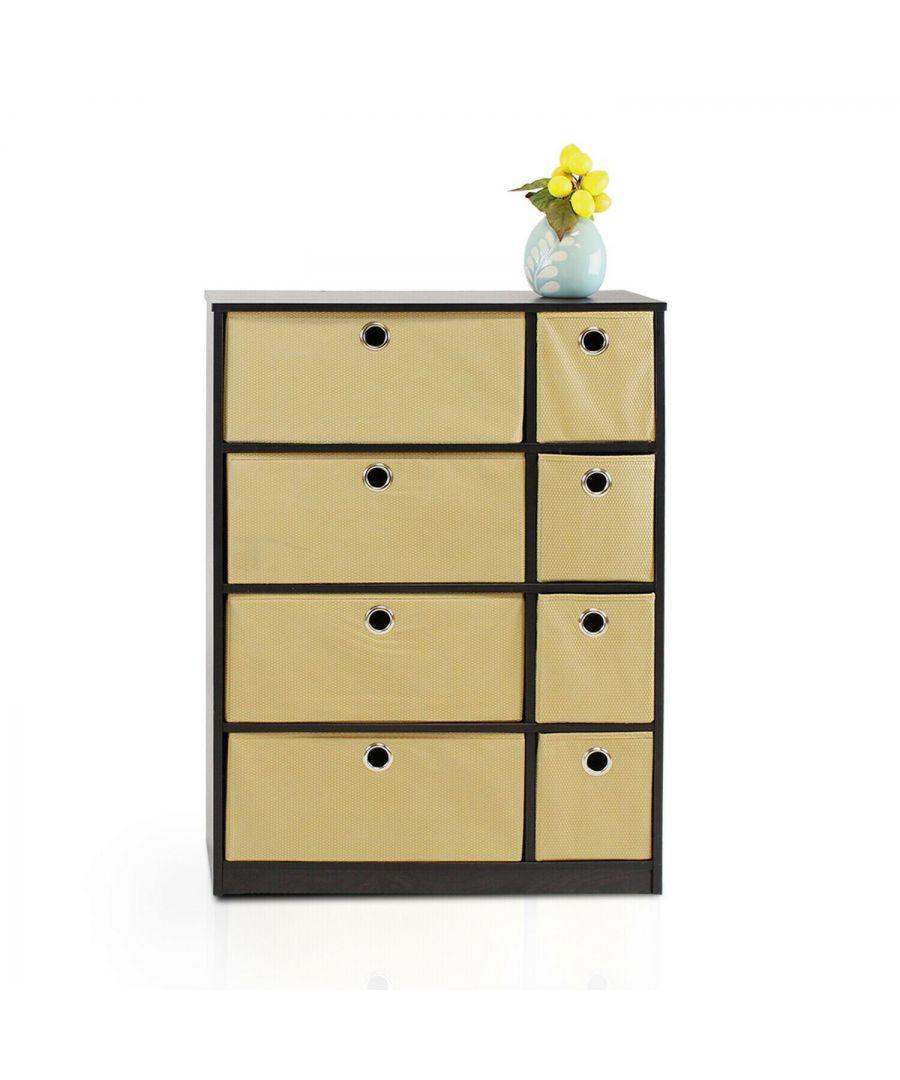 Image for Furinno Econ Storage Organizer Cabinet With Bins - Espresso/Light Brown