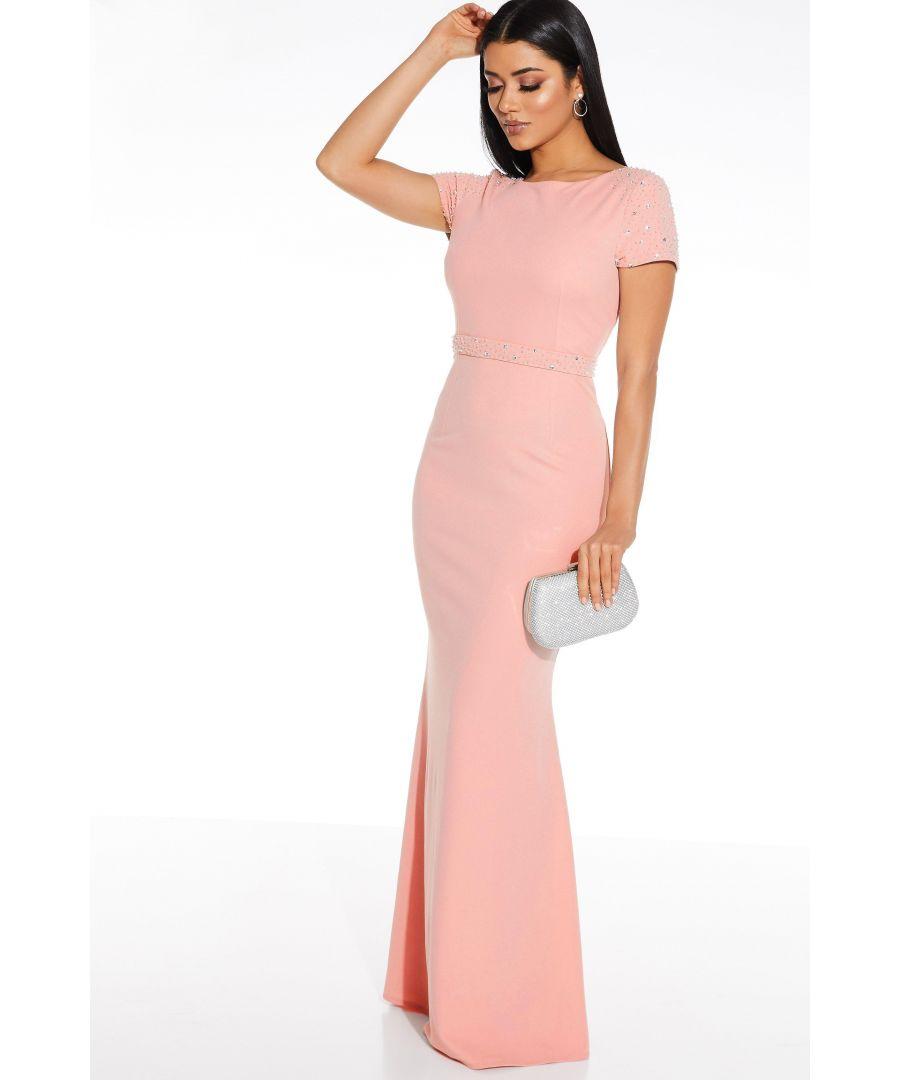 Image for Pink Embellished Shoulder Maxi Dress