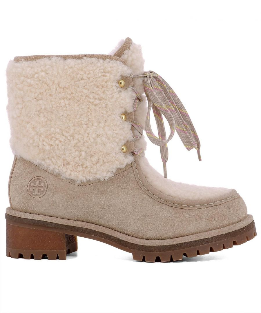 Image for TORY BURCH WOMEN'S 49197256 BEIGE LEATHER ANKLE BOOTS