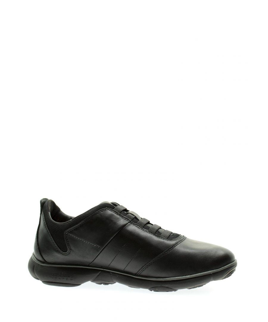 Image for GEOX MEN'S U52D7B00046C9999 BLACK LEATHER SNEAKERS