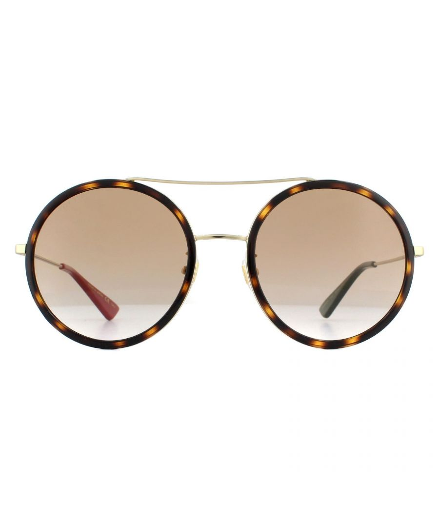 Image for Gucci Sunglasses GG0061S 013 Havana Gold Green & Red Tips Brown Gradient Light Mirror