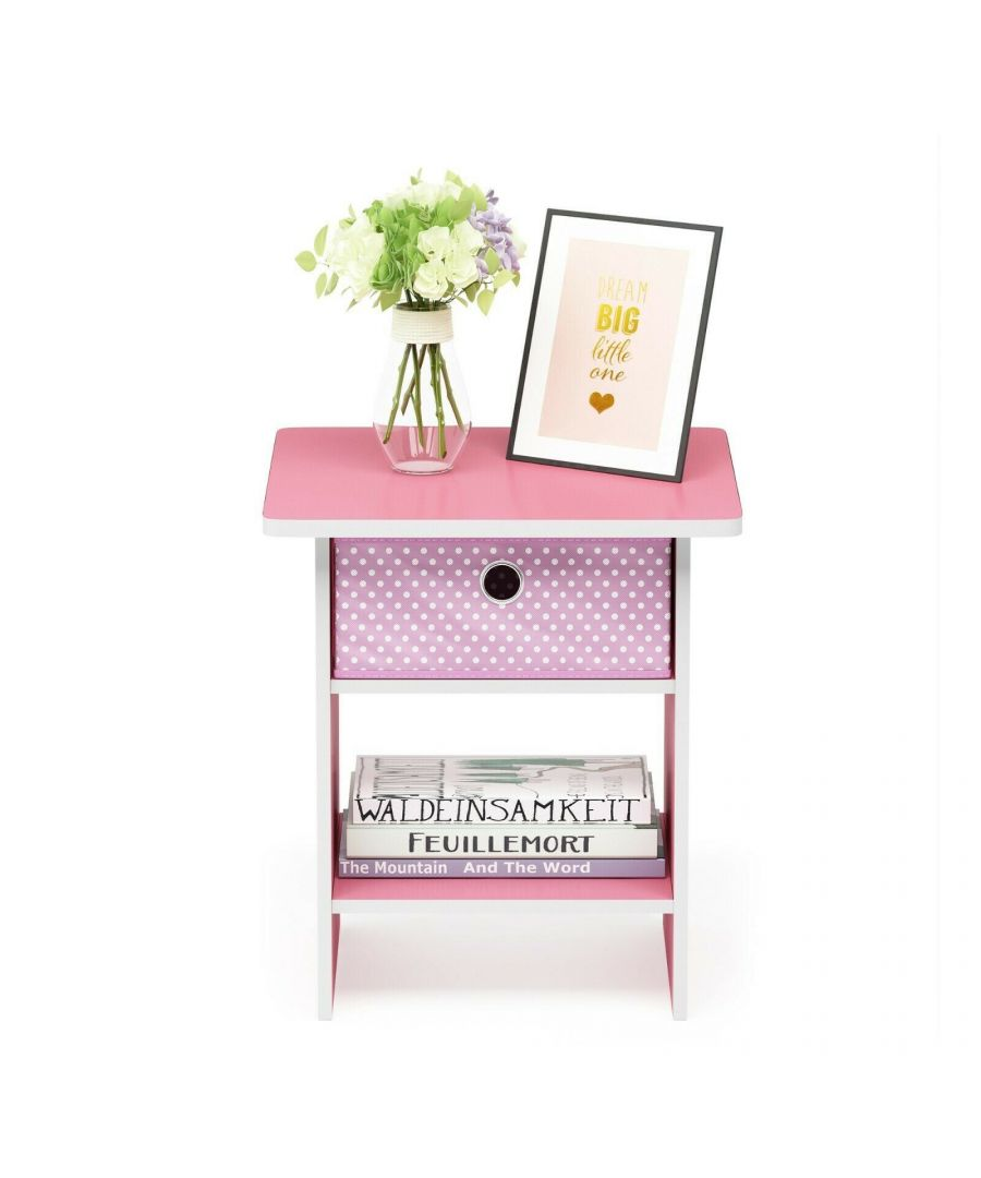 Image for Furinno Dario End Table  Night Stand Storage Shelf with Bin Drawer - Light Pink