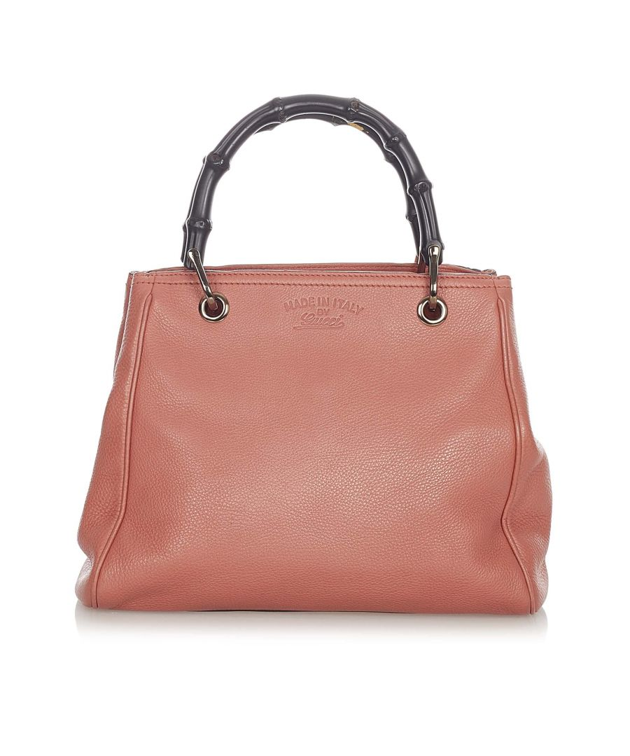 Image for Vintage Gucci Bamboo Shopper Leather Satchel Pink
