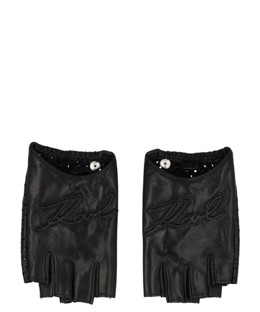 Image for KARL LAGERFELD WOMEN'S 20KW201W3603BLACK BLACK LEATHER GLOVES