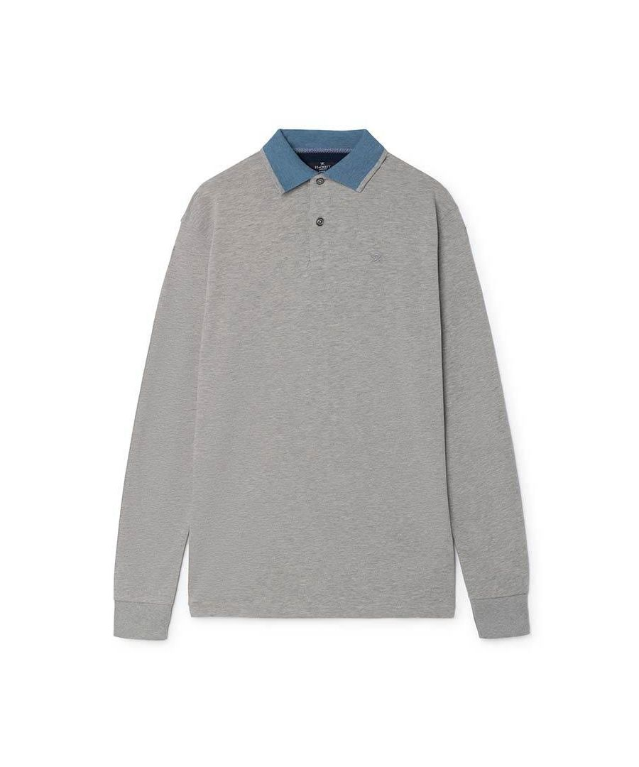 Image for Men's Hackett, Mix Woven Trim Long Sleeve Top in Grey Marl
