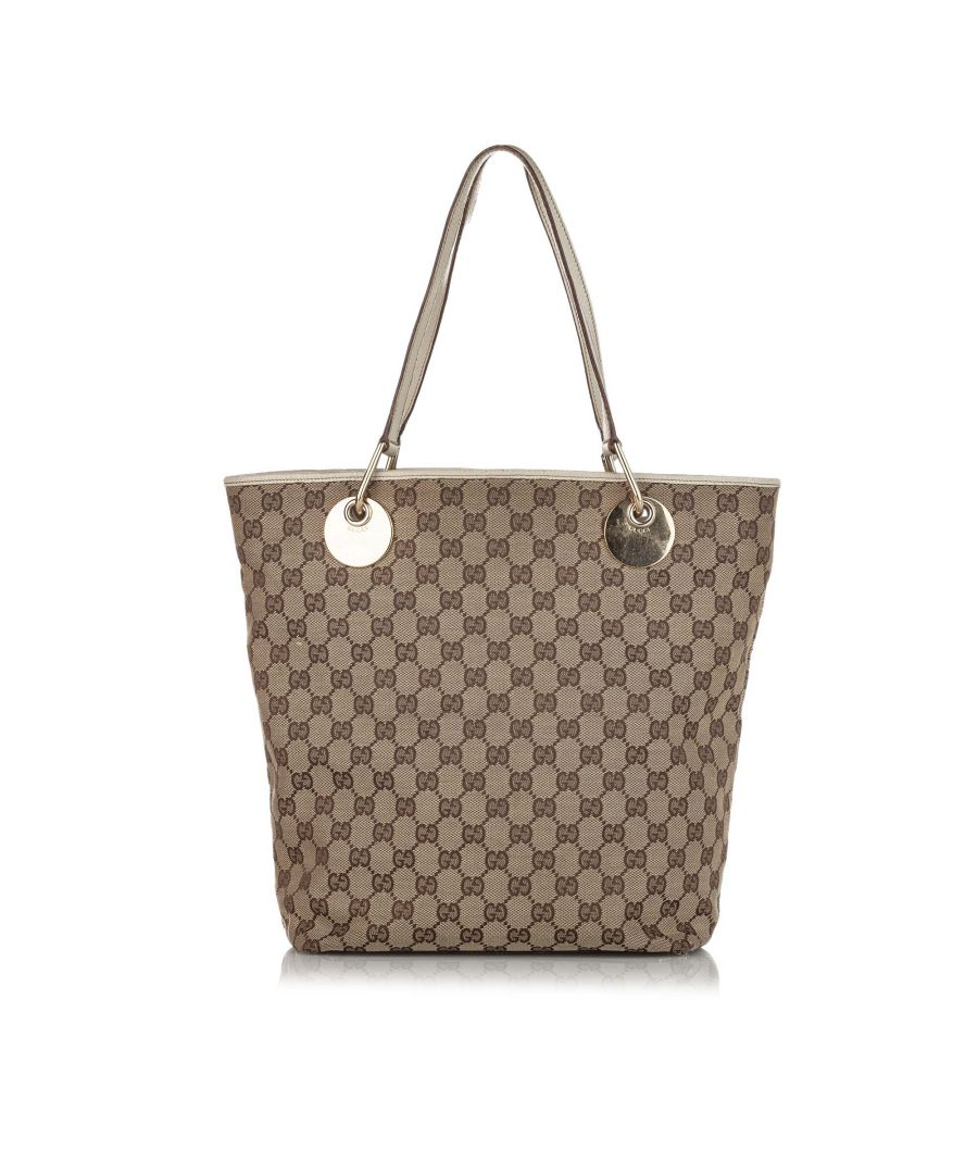 Image for Vintage Gucci GG Canvas Eclipse Tote Bag Brown