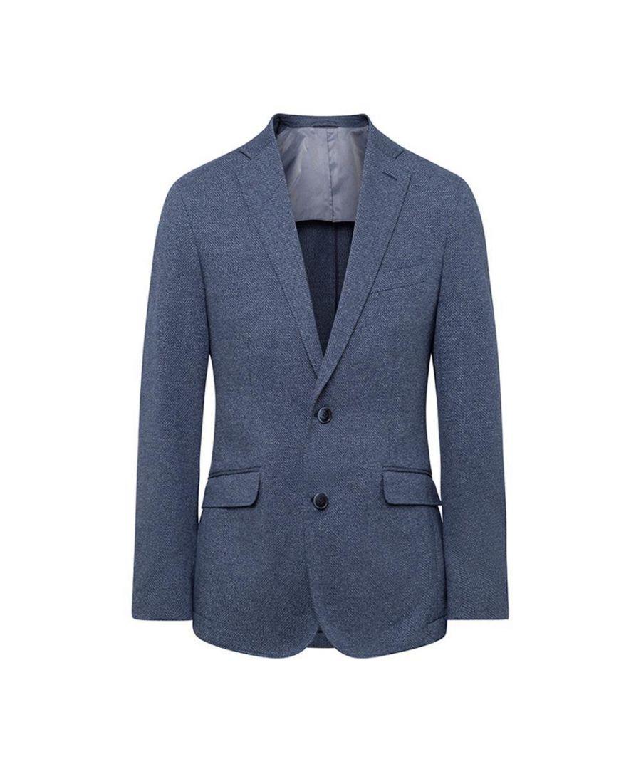 Image for Men's Hackett, Cotton Knit Herringbone Jacket in Blue
