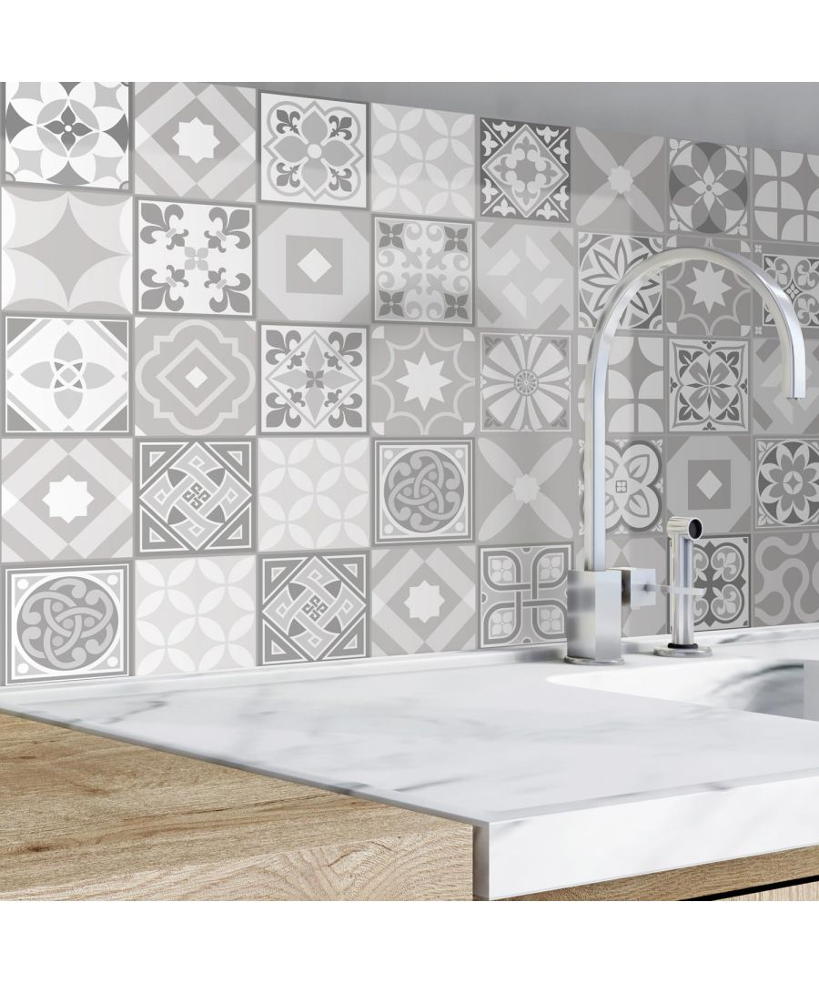Image for Campbell Cement Light Grey Retro /  Purbeck Stone Tiles Wall Stickers - 15 cm x 15 cm - 48 pcs. Tile Stickers, Kitchen And Bathroom, Peel And Stick Tiles