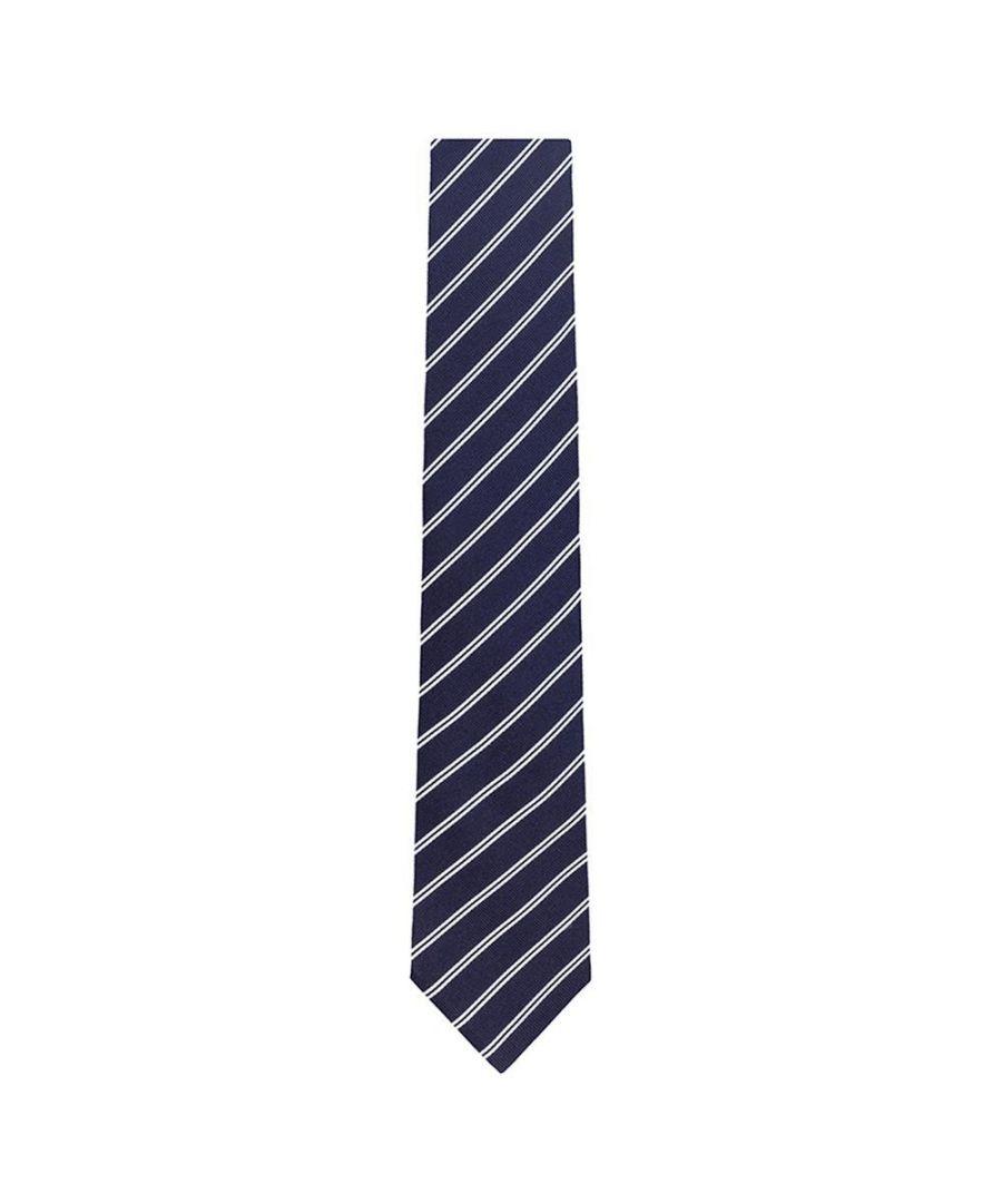 Image for Men's Hackett Mini Track Stripe Tie in Navy & White