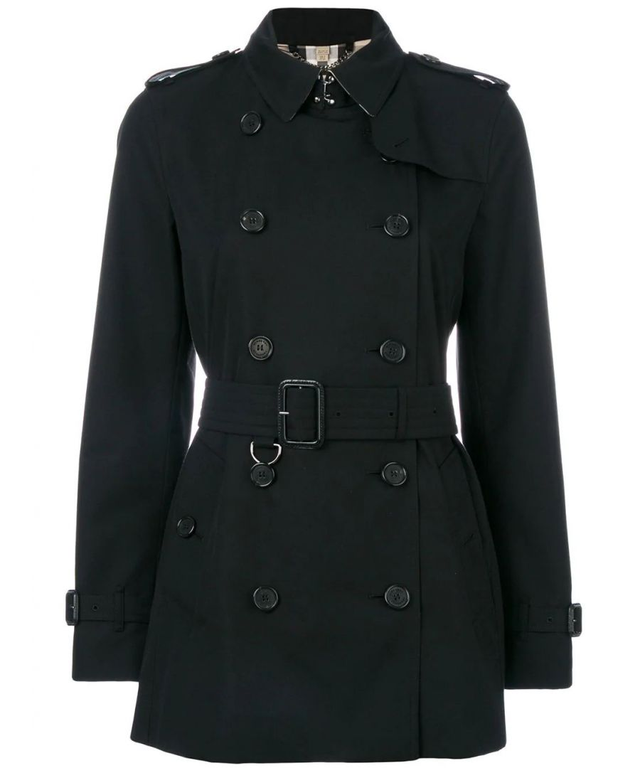 Image for BURBERRY WOMEN'S 3900548 BLACK COTTON TRENCH COAT