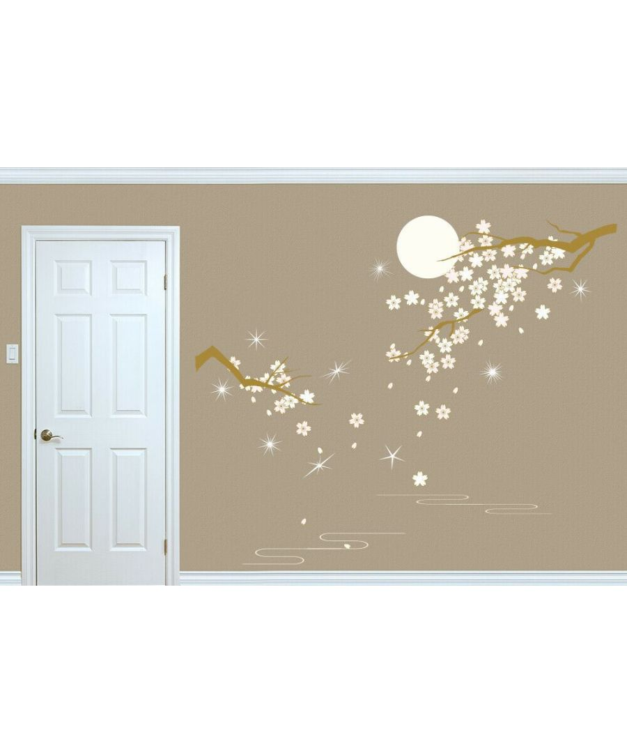 Image for Combo of Crystal Blossom Flowers under Moonlight Wall Decoration Self-adhesive DIY Wall Stickers 3 sheets of 30 x 90 cm