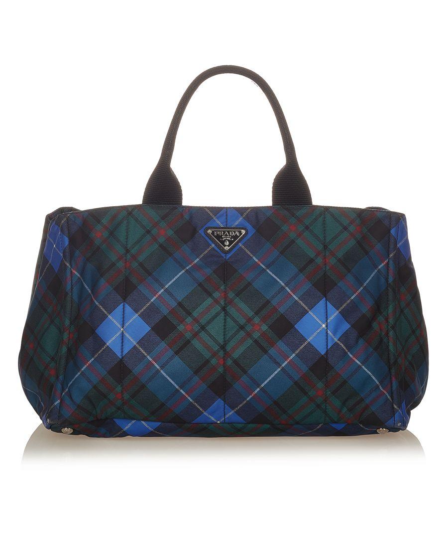 Image for Vintage Prada Tessuto Stampato Tote Bag Blue