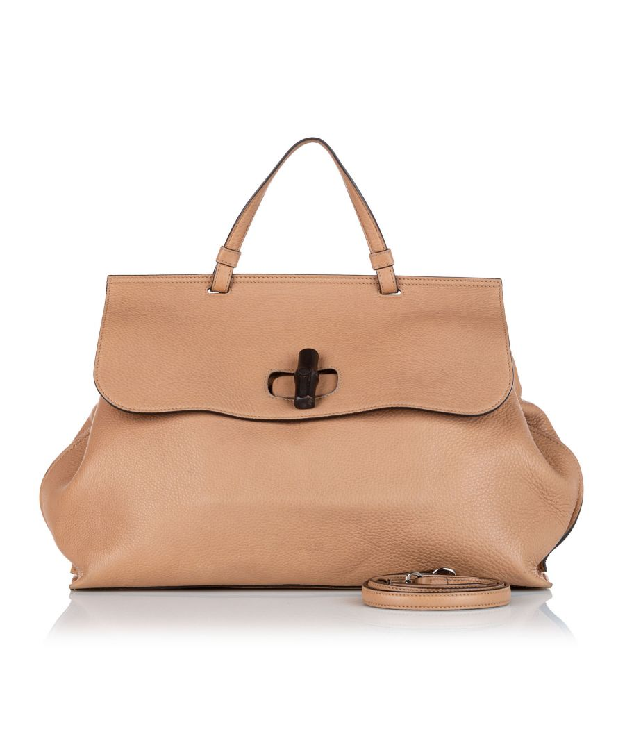 Image for Vintage Gucci Bamboo Daily Leather Satchel Brown