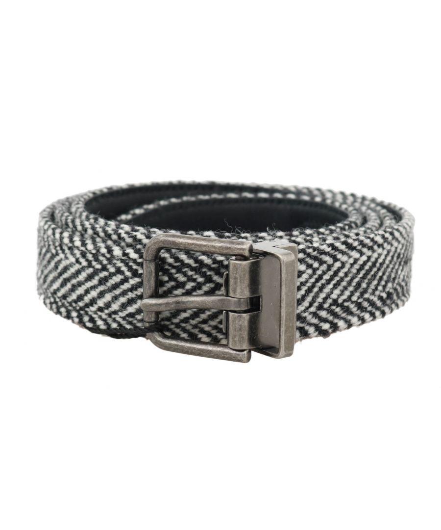 Image for Dolce & Gabbana Black White Chevron Wool Leather Belt