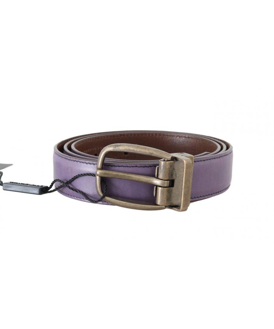 Image for Dolce & Gabbana Purple Shiny Leather Gold Buckle Belt