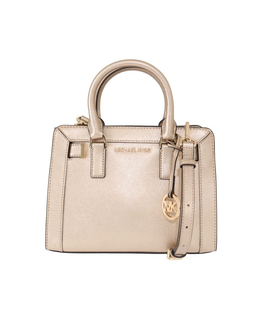Image for Michael Kors Pale Gold DILLON Leather Satchel Bag