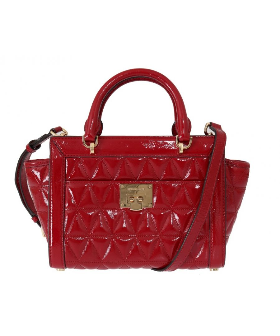 Image for Michael Kors Red VIVIANNE Patent Messenger Bag