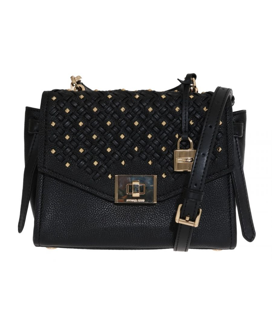 Image for Michael Kors Black CASSIE Leather Messenger Bag