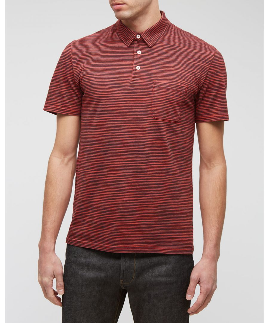 Image for Painted Stripe Garment Dyed Polo Top