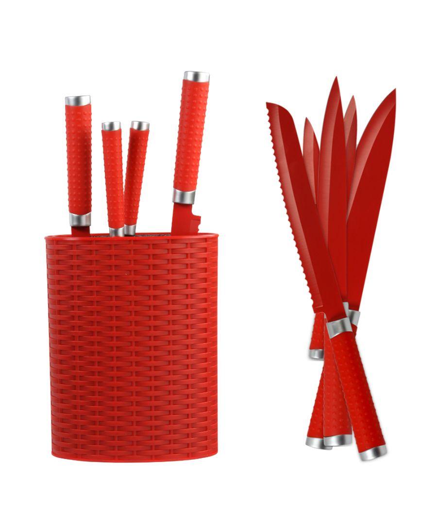 Image for Grunwerg 6 Piece Knife Block Set - Red