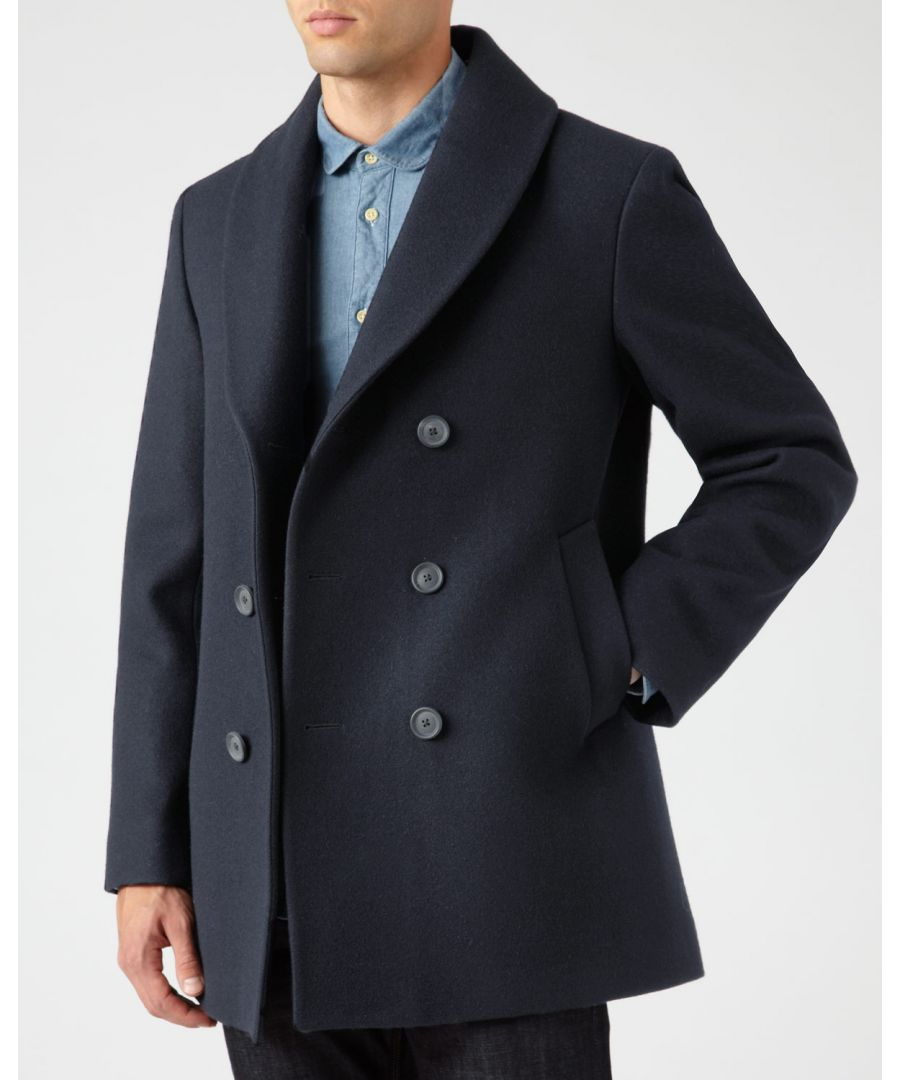 Image for Wool Melton Shawl Pea Coat