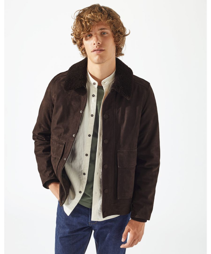 Image for Shearling Collar Suede Bomber