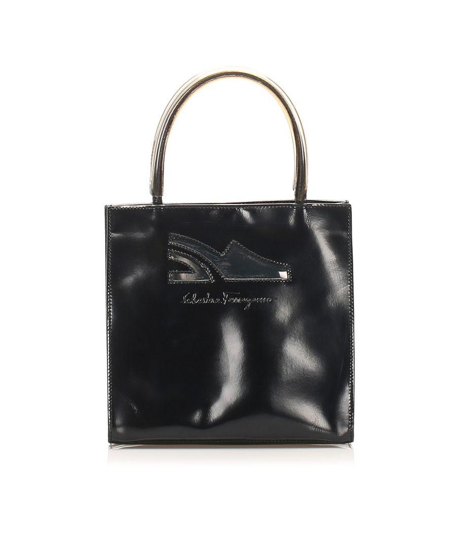 Image for Vintage Ferragamo Leather Handbag Black
