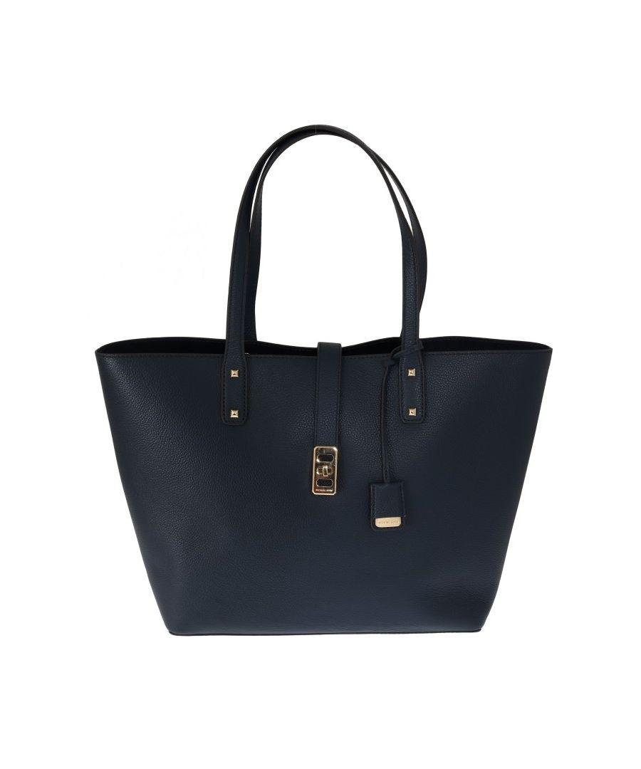 Image for Michael Kors Blue KARSON Leather Tote Bag