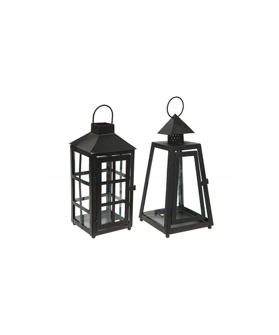 Image for Black Hurricane Lantern - 2 Assorted