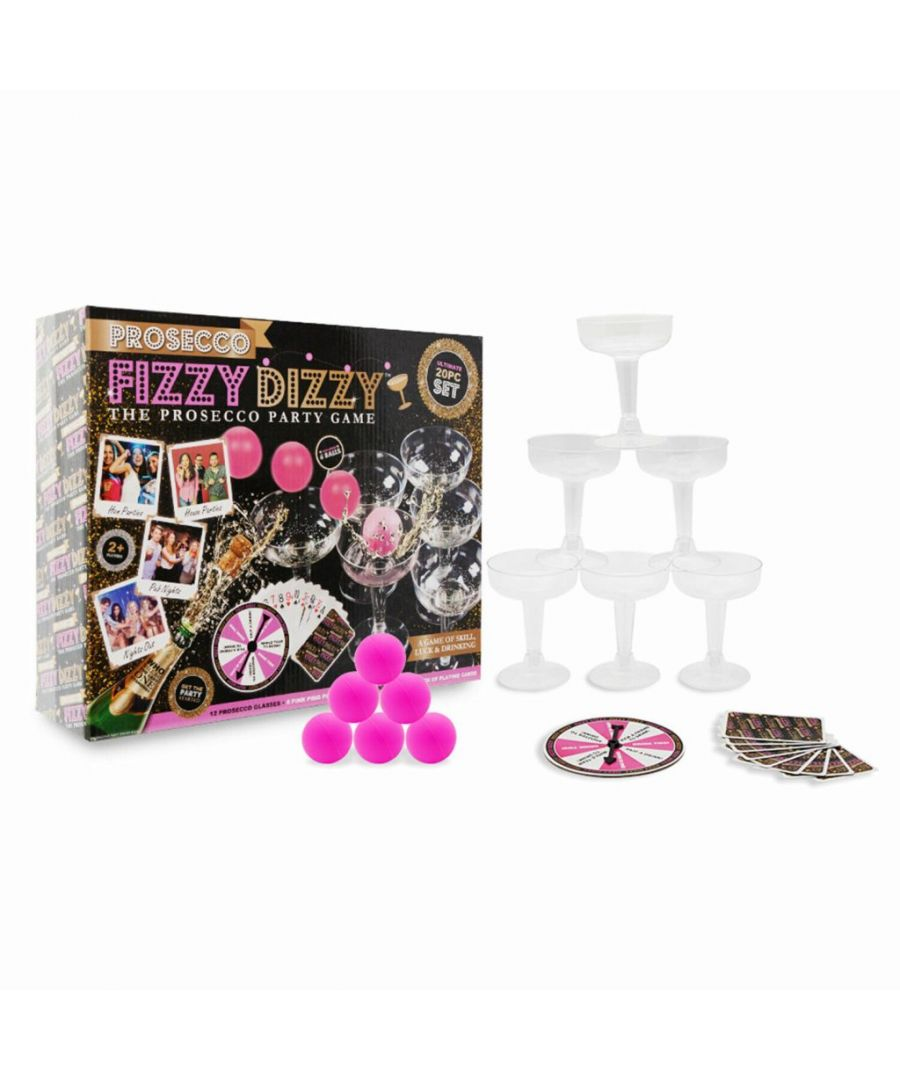 Image for Prosecco Fizzy Dizzy Kit Adult Party Game in Printed Box Black & Pink