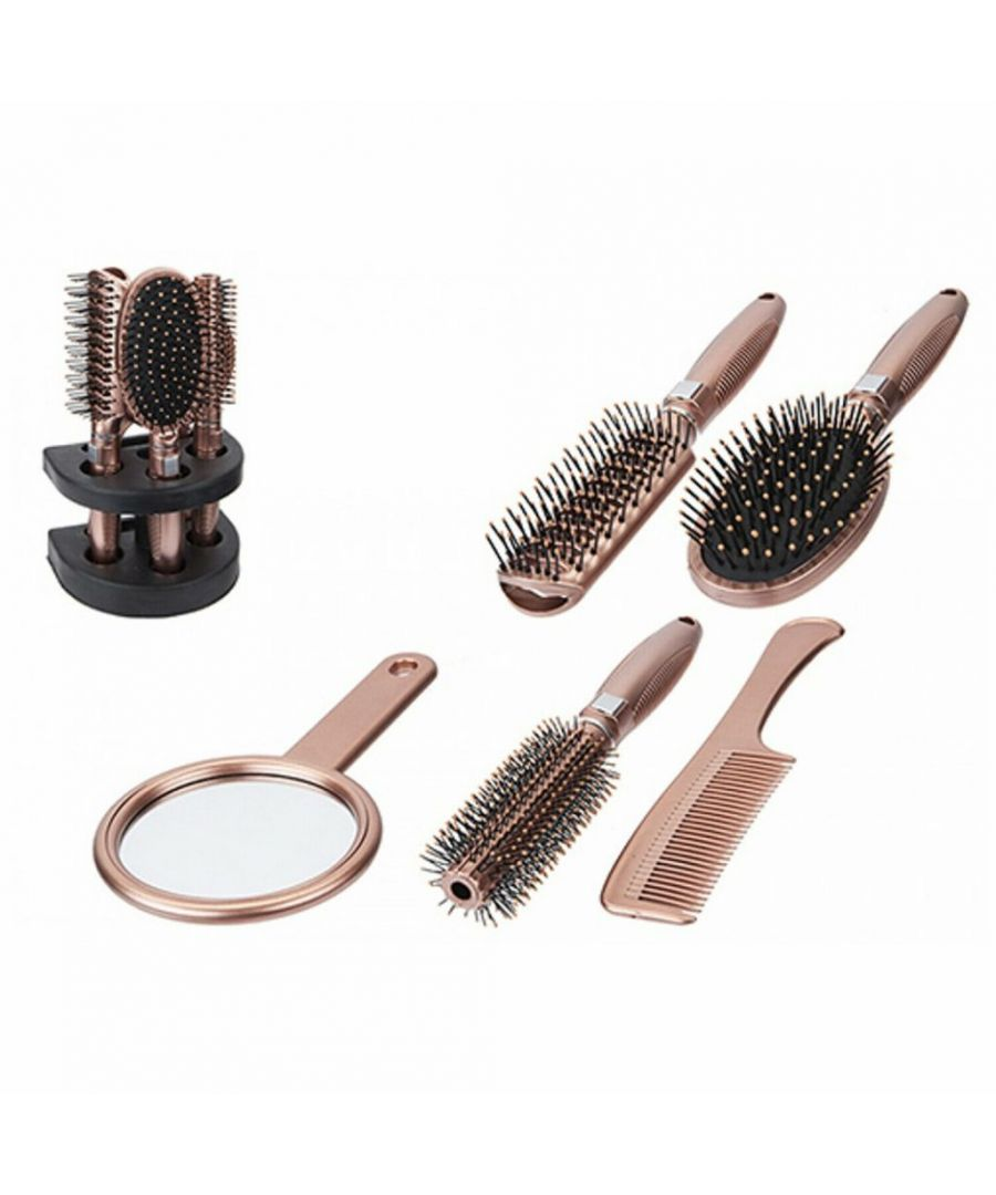 Image for Colour Brush & Mirror Set On Stand 5 Piece Rose Gold
