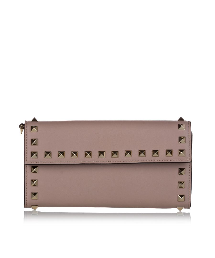 Image for Vintage Valentino Rockstud Leather Wallet Pink