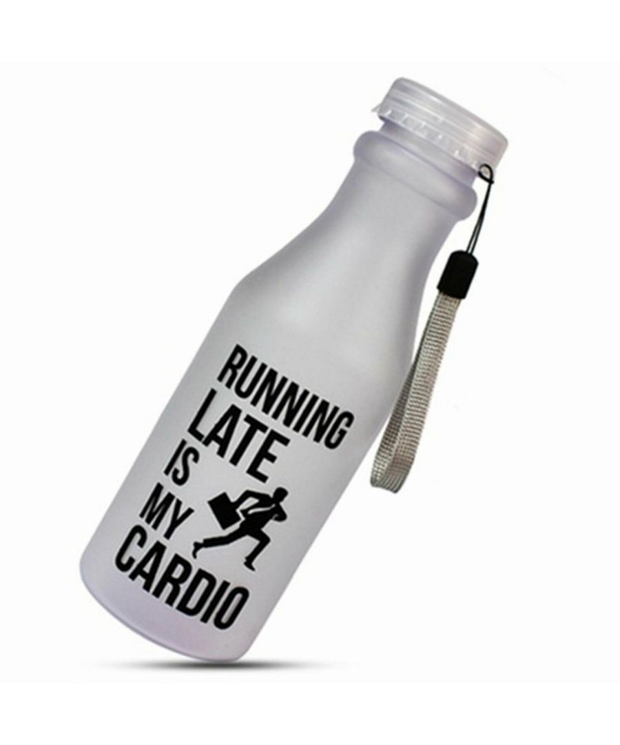 Image for Aquarius Water Bottle Running Late is my Cardio 550ml White