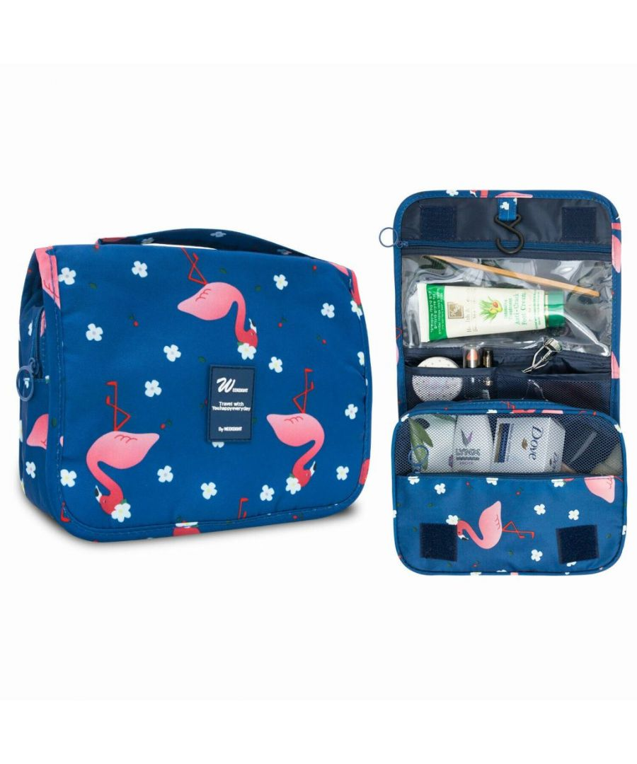Image for Flo Fashion Hanging Travel Toiletry Bag Flamingo Blue