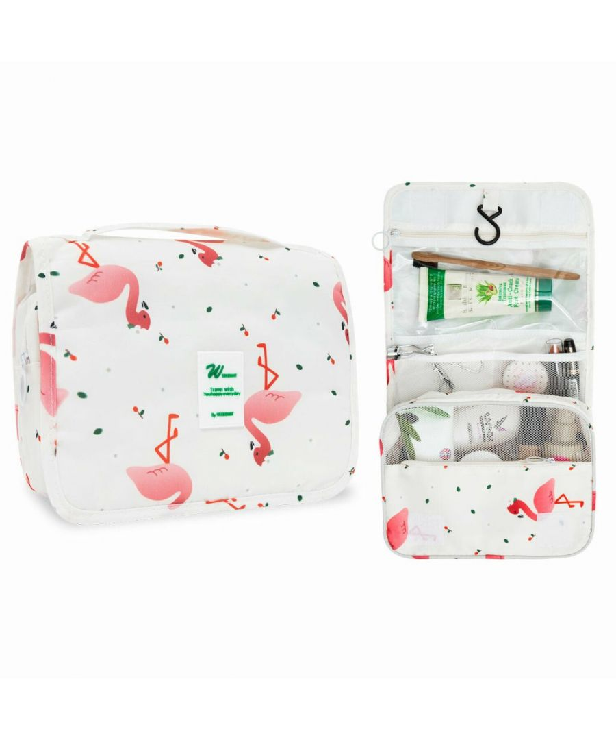 Image for Flo Fashion Hanging Travel Toiletry Bag Flamingo White