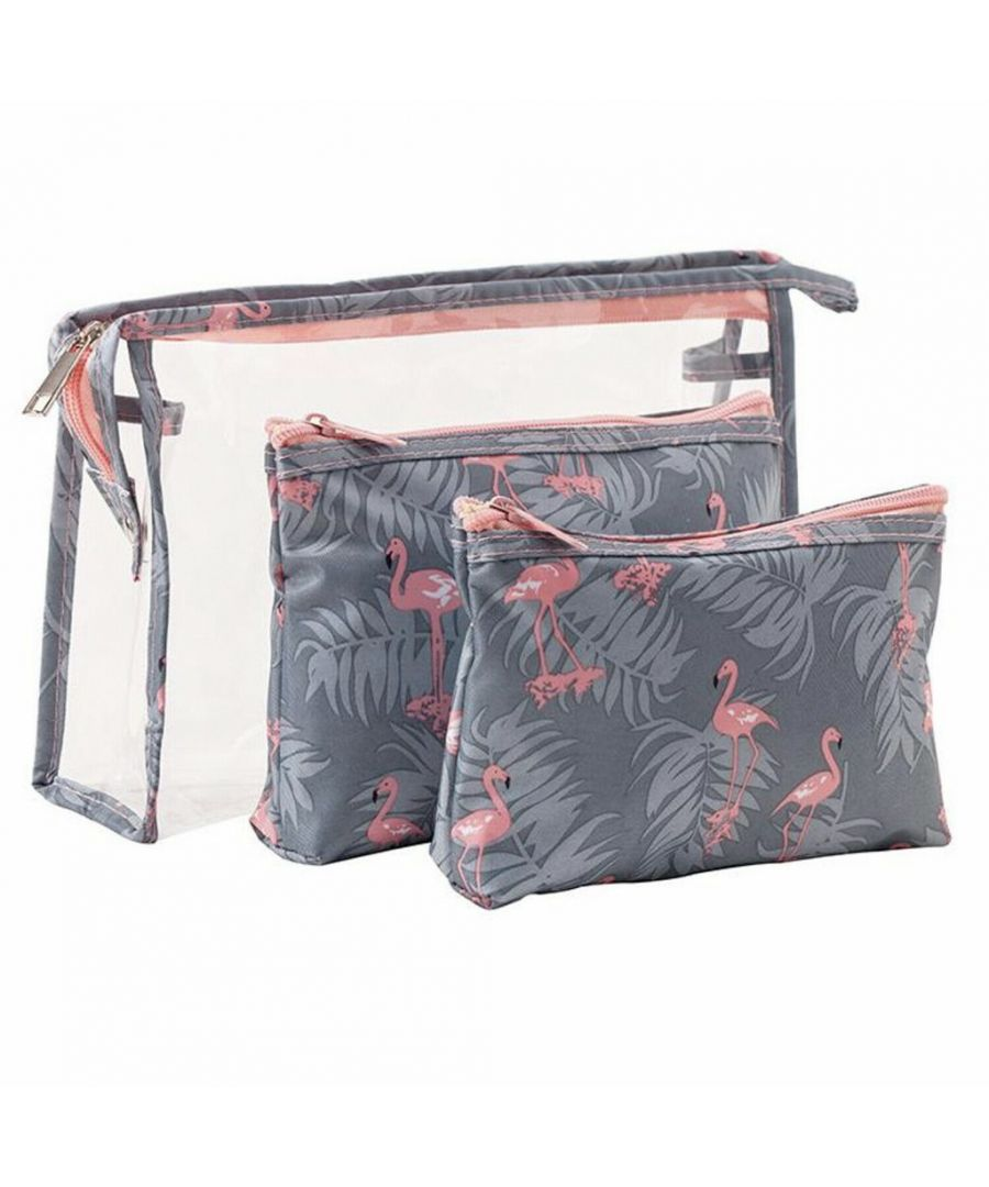 Image for Flo Fashion Cosmetic Travel Luggage Organiser Flamingo x 3 Piece Set