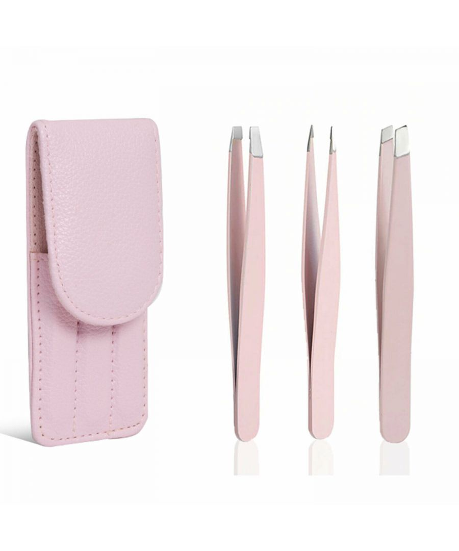 Image for Envie Stainless Steel Eyebrow Tweezer 3 Pc Set Pink