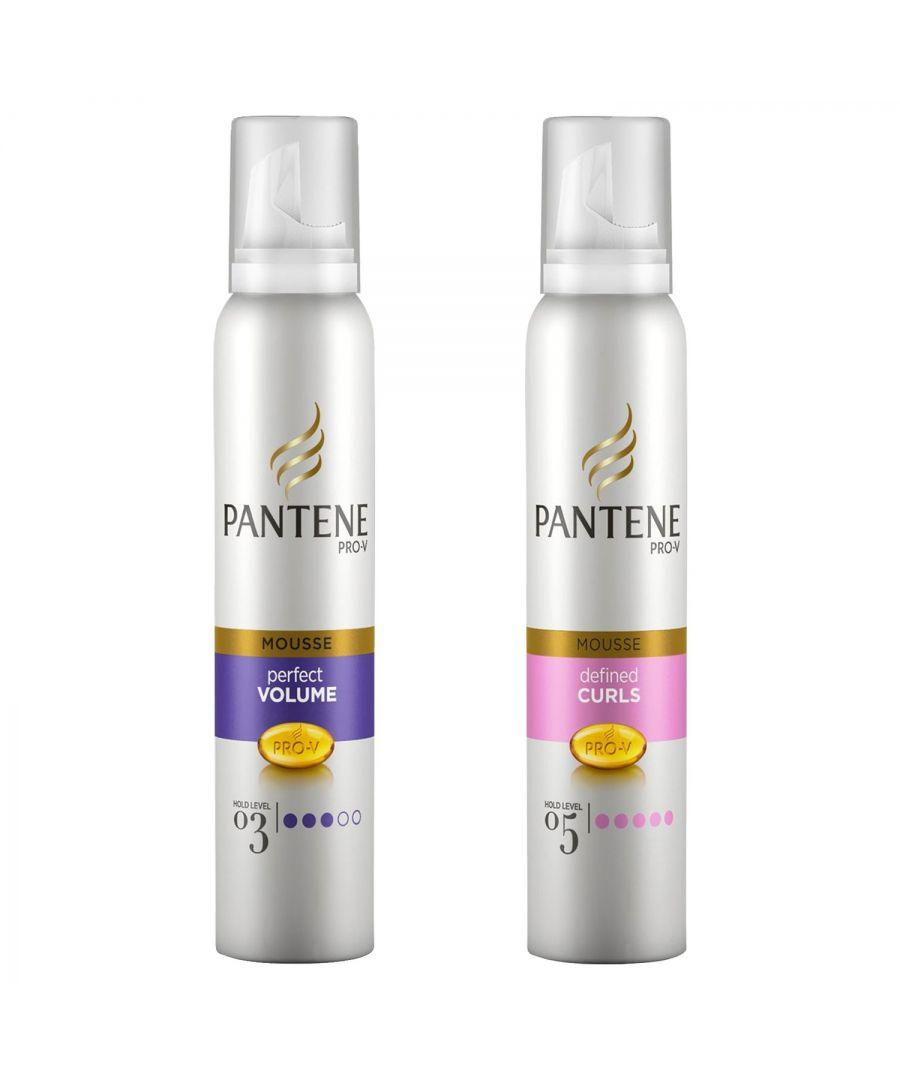 Image for Pantene Mousse Volume & Body 200ml & Pantene Mousse Curl Defining 200ml