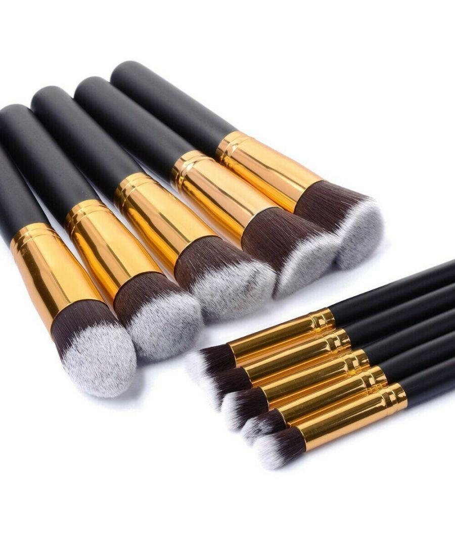 Image for 10 Pcs Kabuki Make Up Brushes Set, Professional Foundation Cosmetic Kit