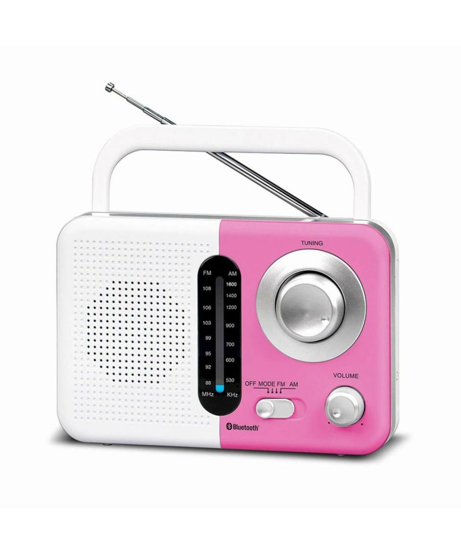 Image for Soundz SZ412 AM/FM Portable Bluetooth Radio With USB Port And SD Card Slot White & Pink